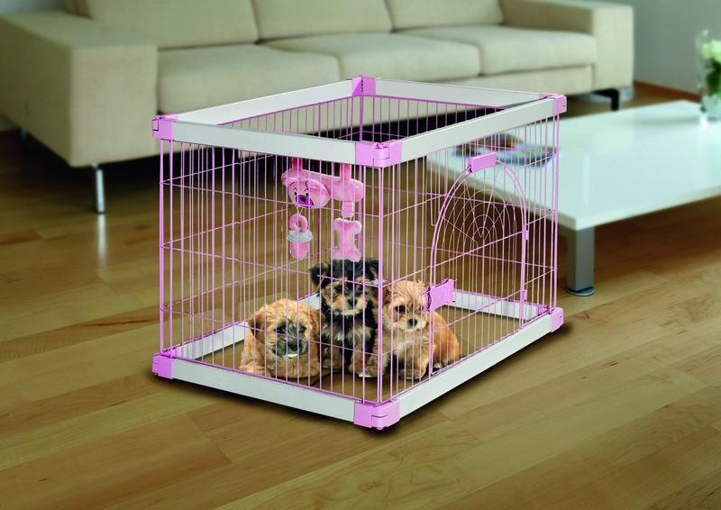Gitterbox puppy nanny rosa hundeshop hundebox kennel for Petite maison pour chien